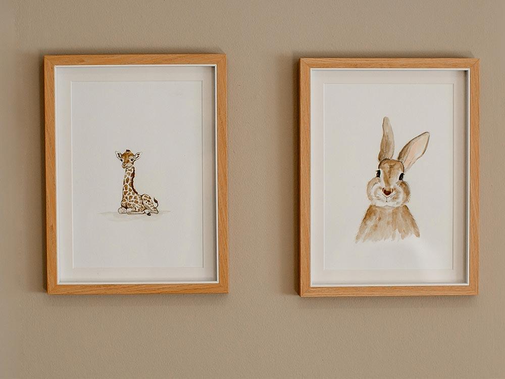 Original Giraffe And Bunny Artwork Little Nest
